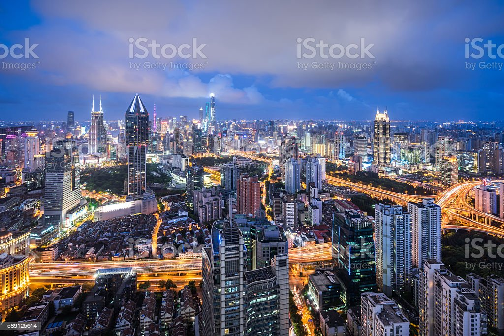 Aerial View of Shanghai Skyline at Dusk stock photo