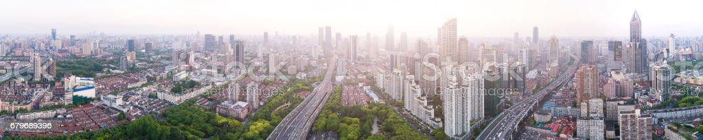 Aerial view of Shanghai Skyline stock photo