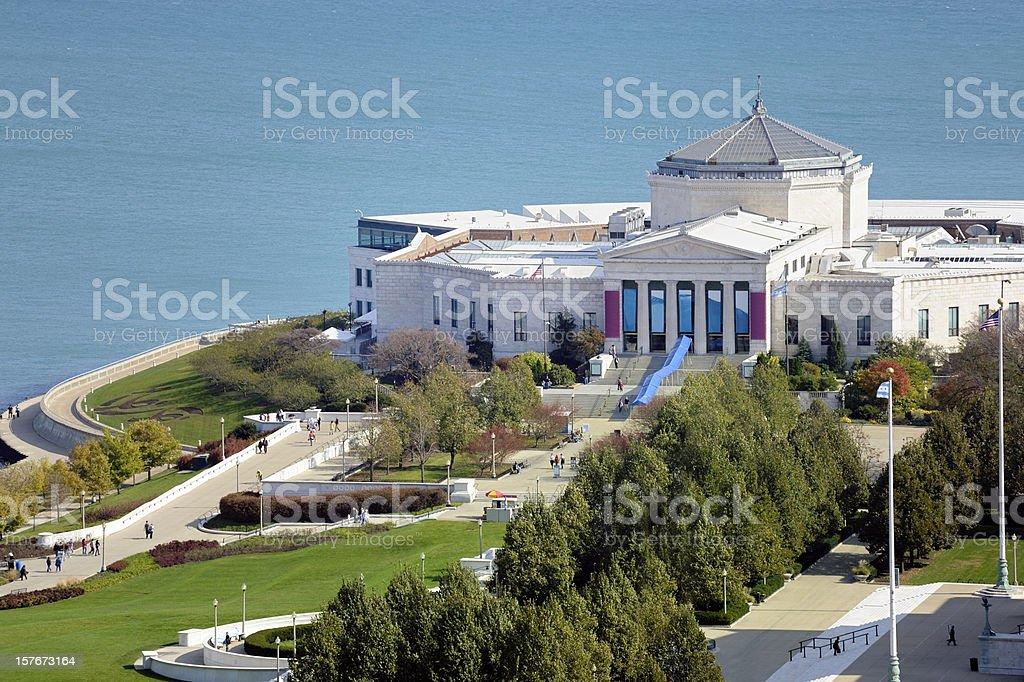 Aerial View of Shedd Aquarium, Chicago, Illinois, USA stock photo