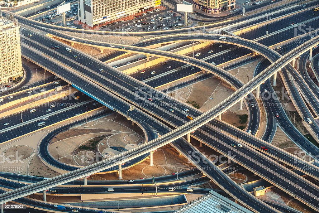 Aerial view of Sheikh Zayed road in Dubai, UAE. stock photo