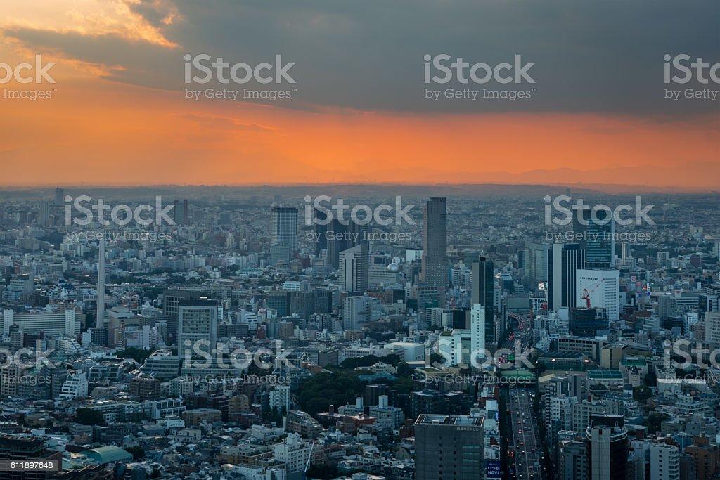 Aerial view of Shinjuku in Tokyo at sunset stock photo