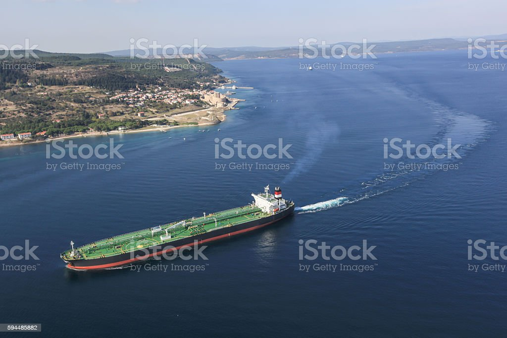 Aerial View of ship stock photo