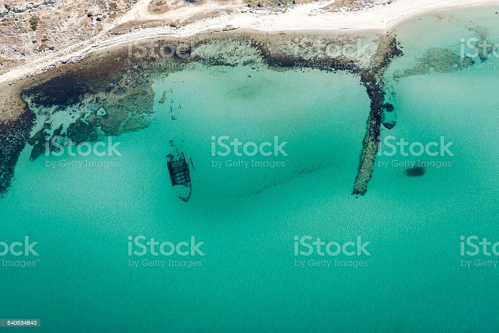 Aerial view of shipwrecks near the seaside stock photo