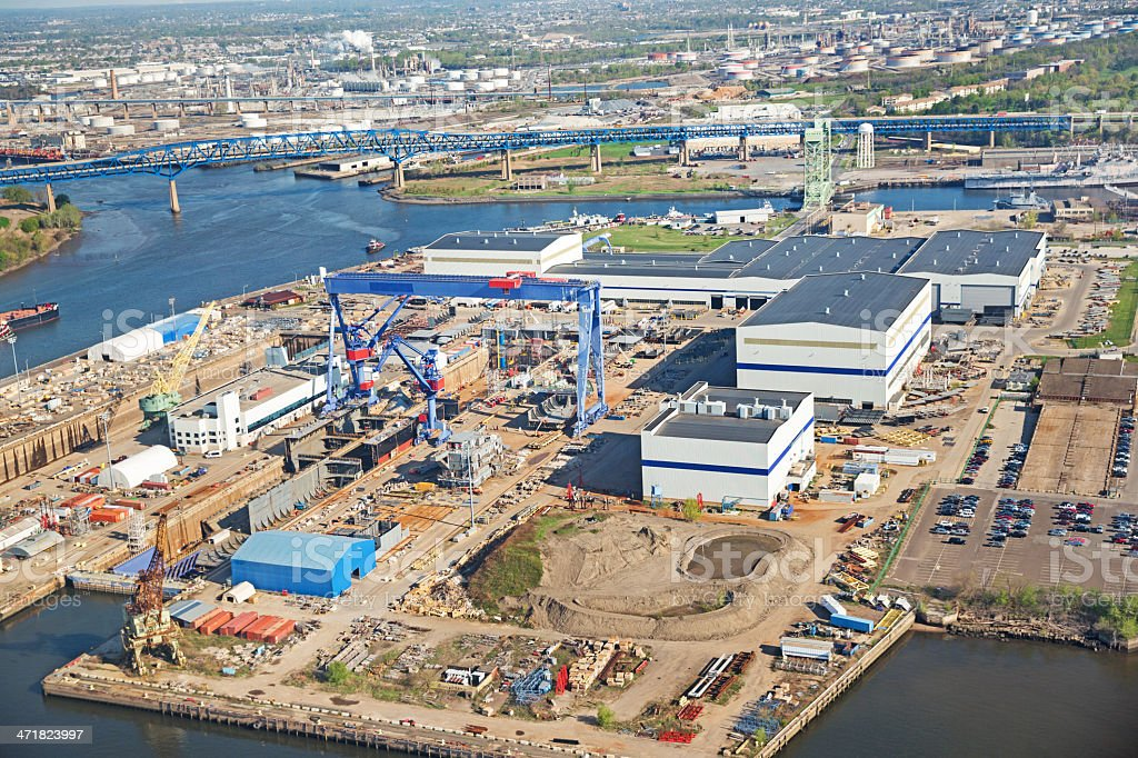 Aerial view of shipyard royalty-free stock photo