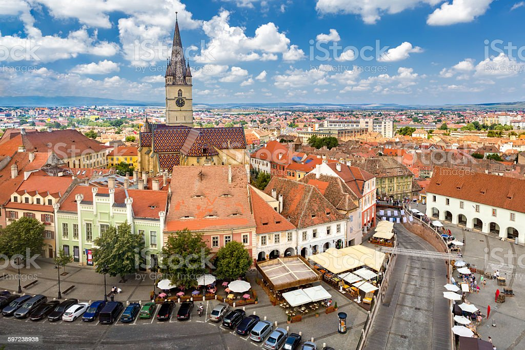 Aerial view of Sibiu old center stock photo