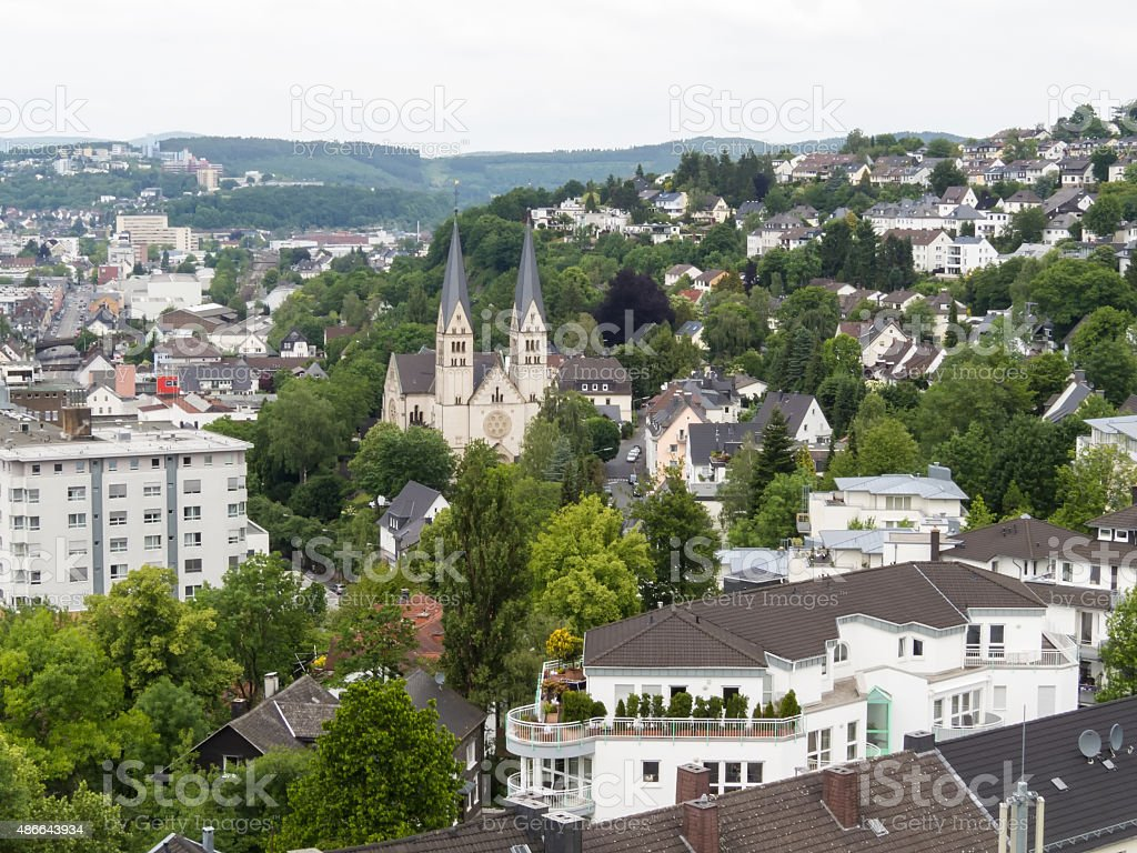 Aerial view of Siegen, city in Germany stock photo
