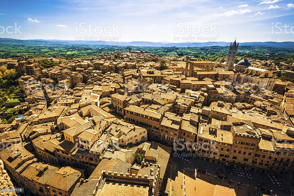 Aerial View of Siena in Tuscany, Italy royalty-free stock photo