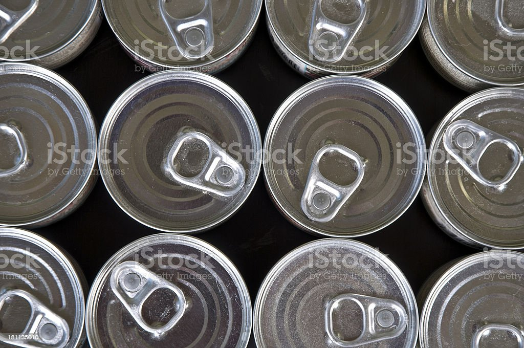 Aerial View Of Silver Metal Canned Goods royalty-free stock photo