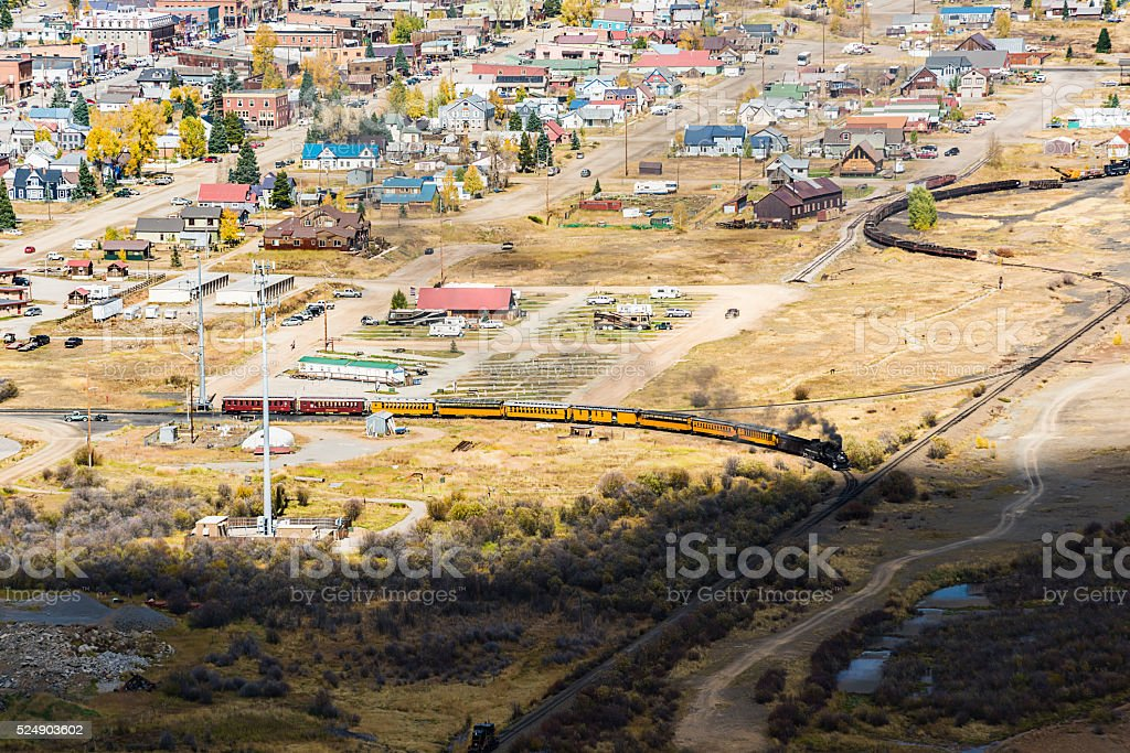 Aerial view of Silverton, Colorado with train stock photo