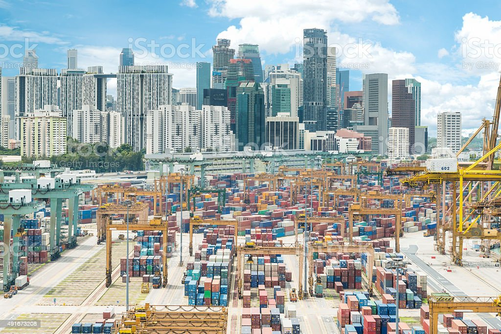 Aerial view of Singapore cargo container port and city stock photo
