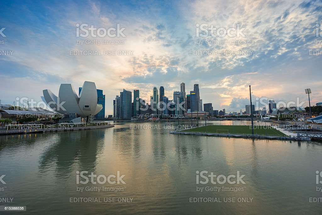 Aerial view of Singapore city skyline in sunrise or sunset stock photo