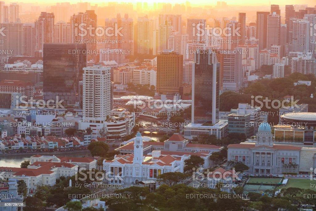 Aerial view of Singapore city skyline stock photo