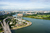 Aerial view of Singapore Flyer at Marina Bay Singapore