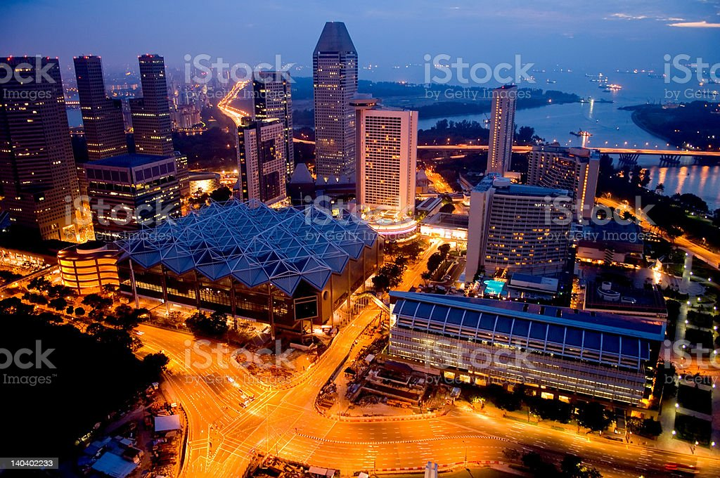 Aerial view of Singapore stock photo