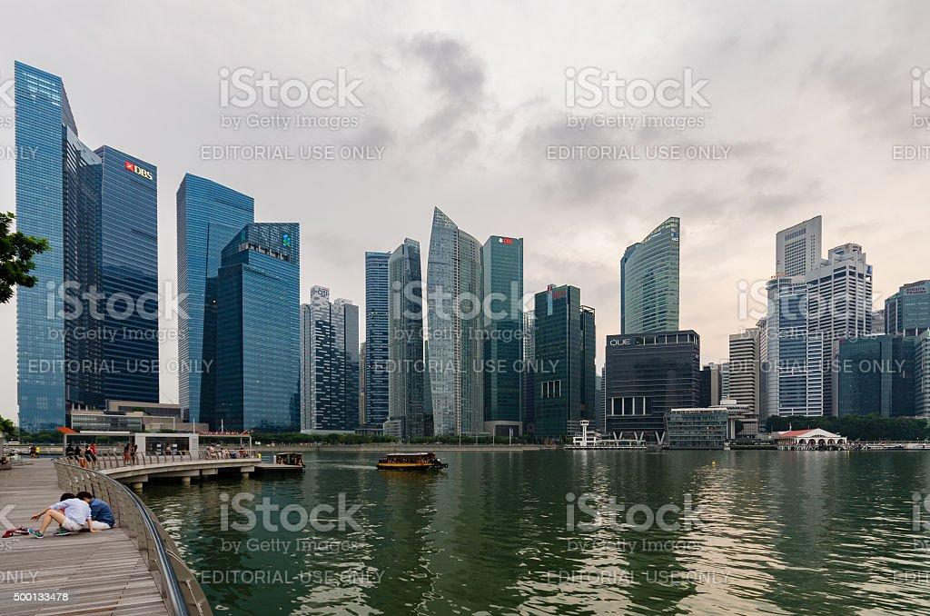 Aerial view of Singapore Skyline in Panorama stock photo