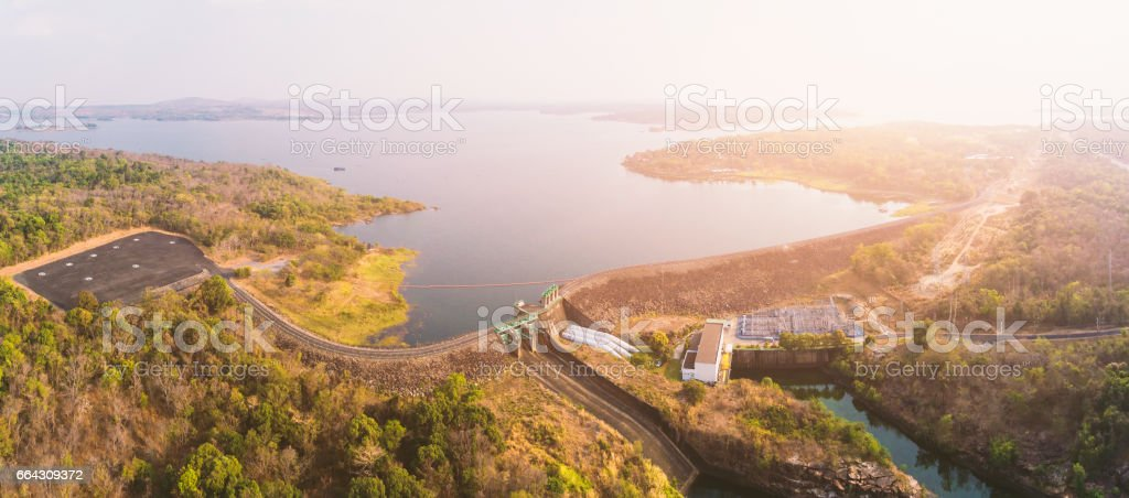 Aerial view of Sirindhorn Dam in Ubon Ratchathani stock photo