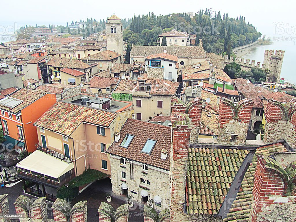 Aerial view of Sirmione city stock photo