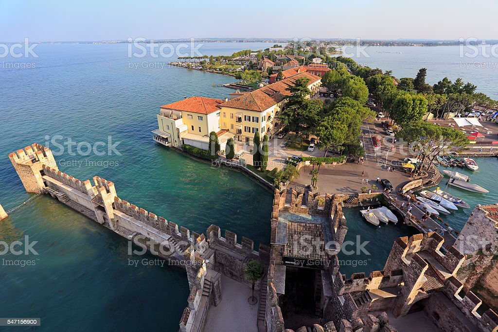 Aerial View of Sirmione from the Scaliger Castle, sirmione, Italy stock photo