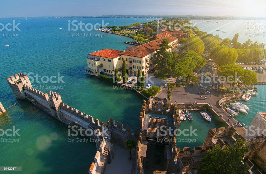 Aerial view of Sirmione, Italy stock photo