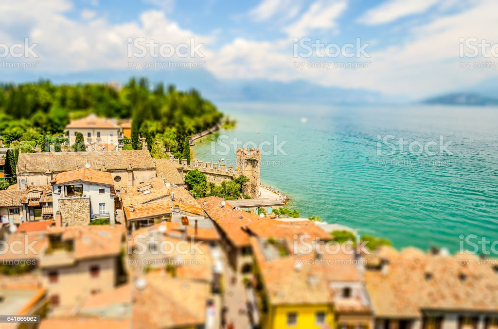 Aerial view of Sirmione, Lake Garda, Italy. Tilt-shift effect applied stock photo