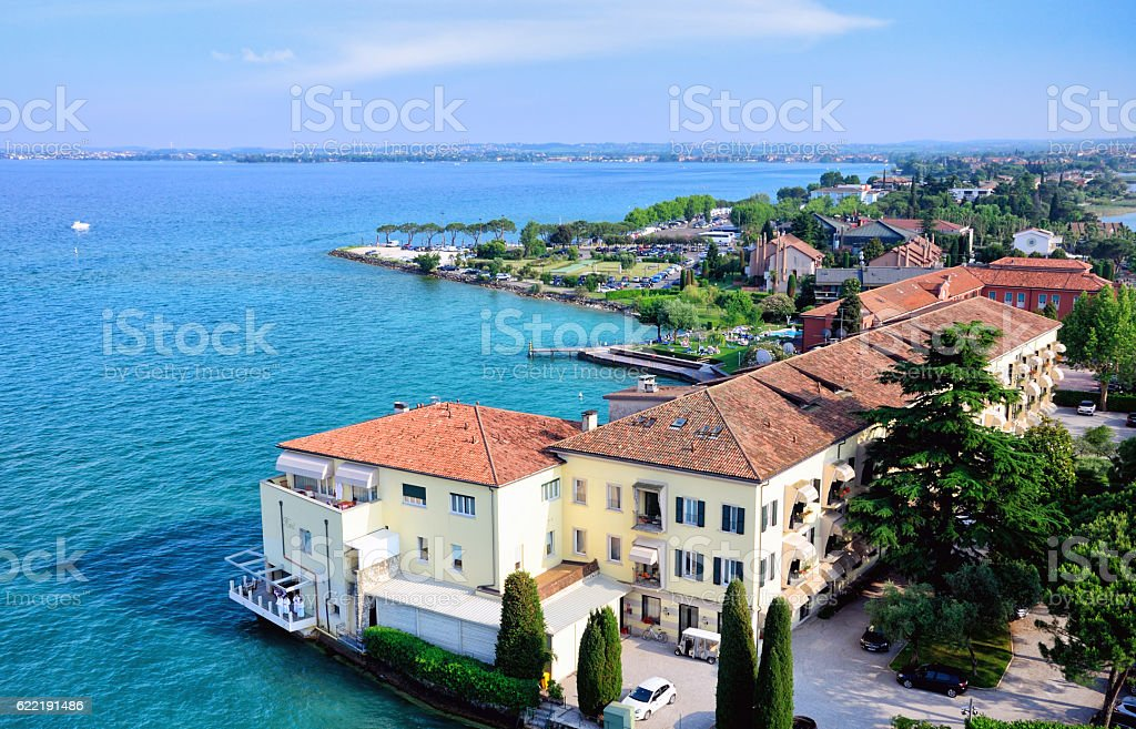 Aerial view of Sirmione stock photo