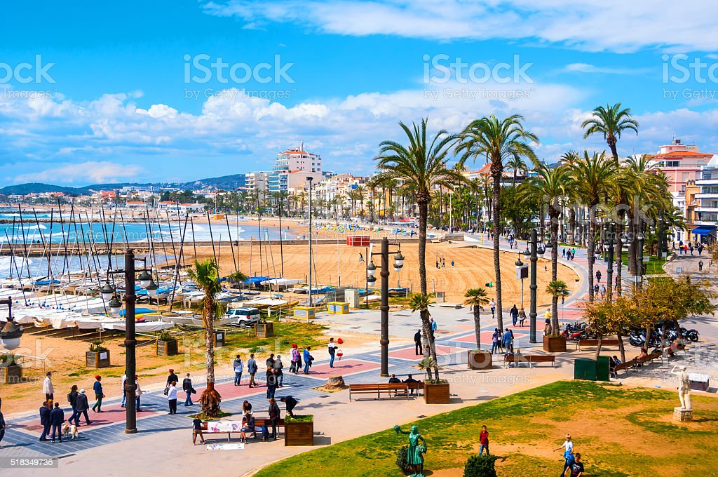 Aerial view of Sitges, Spain beach stock photo