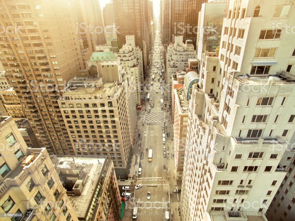 Aerial view of sixth avenue stock photo