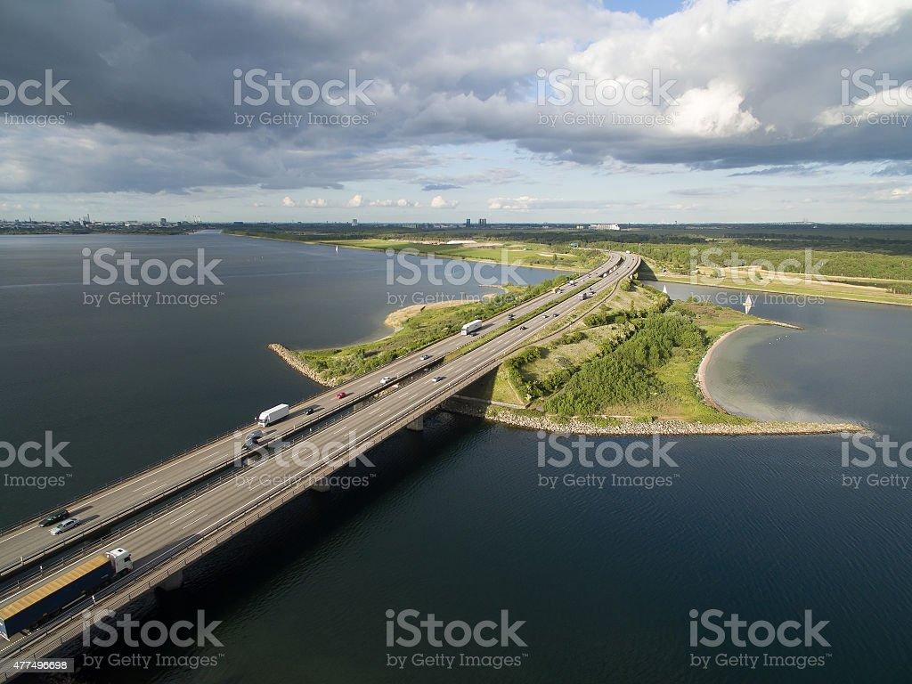 Aerial view of Sjaellandsbroen, Denmark stock photo