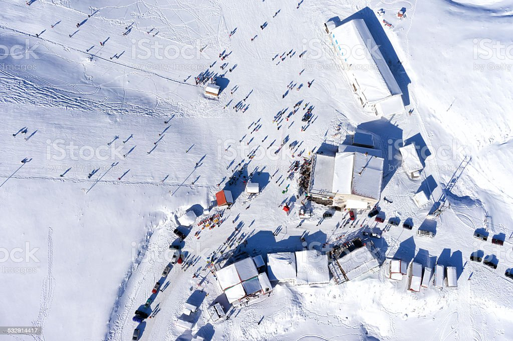 Aerial View of Ski Resort Falakro, in Greece. stock photo