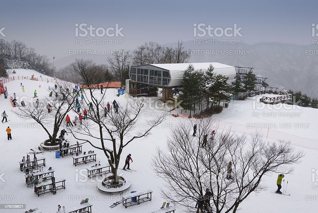 Aerial View of ski resort stock photo