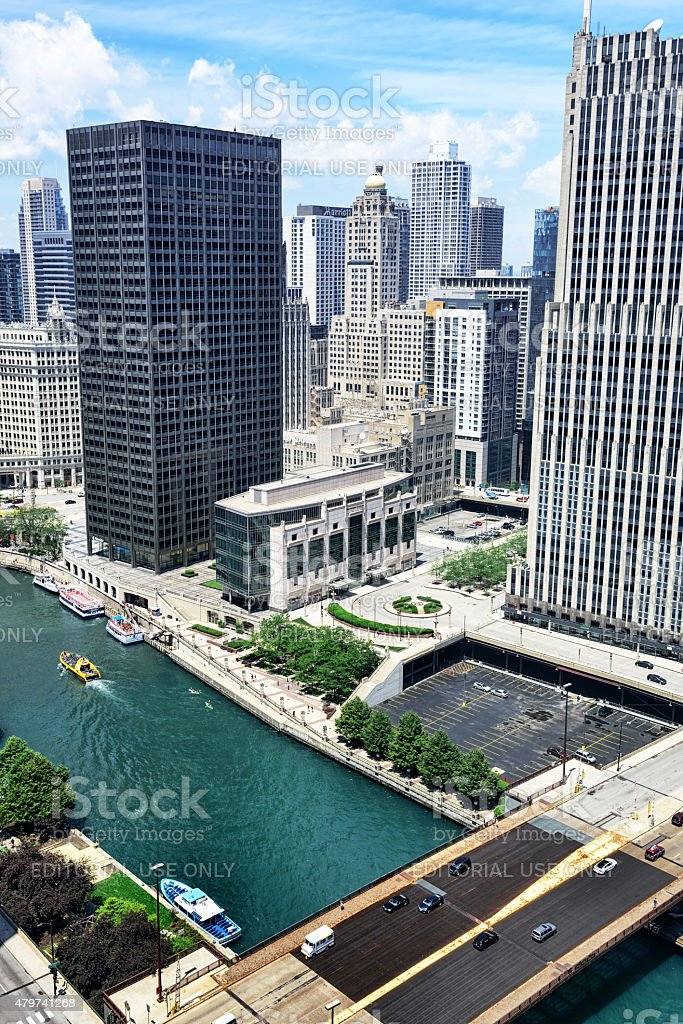 Aerial view of skyscrapers and Chicago River stock photo