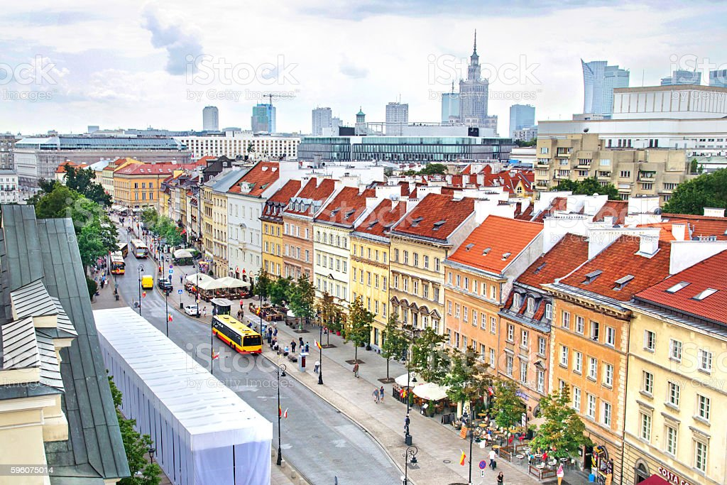 Aerial view of skyscrapers and  Old Town in Warsaw, Poland stock photo