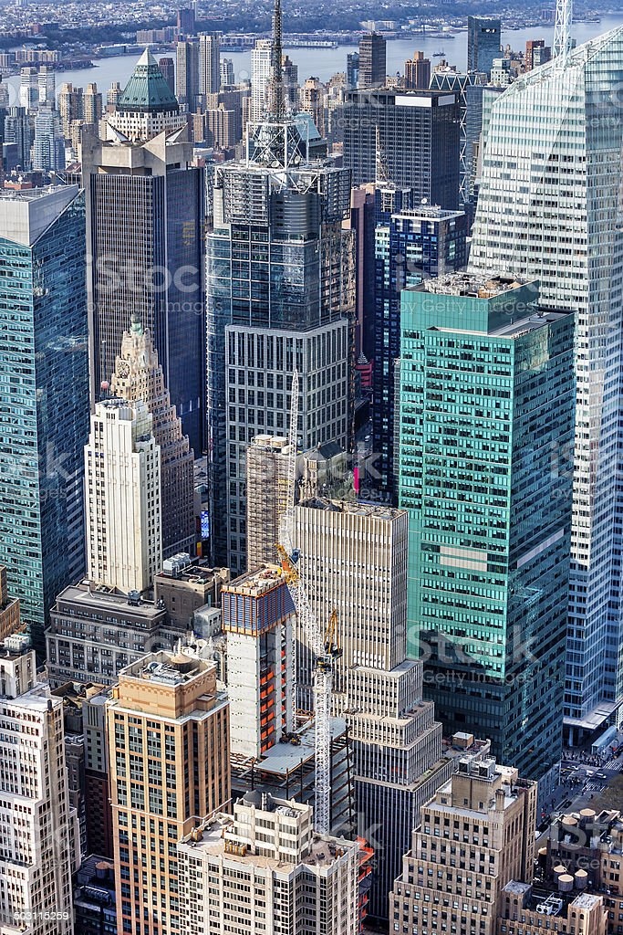 Aerial View of Skyscrapers in Midtown Manhattan, New York royalty-free stock photo