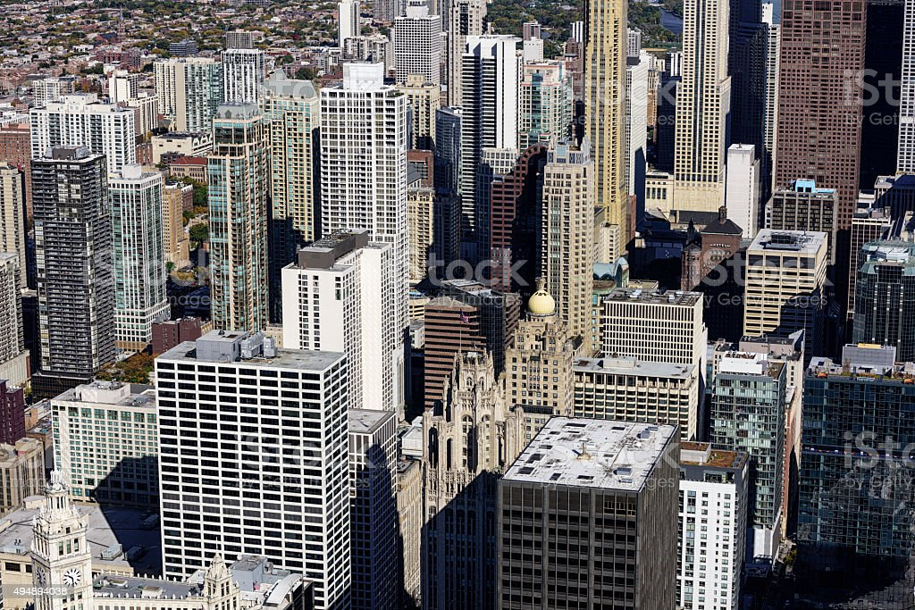 Aerial view of skyscrapers in Streeterville, Chicago stock photo