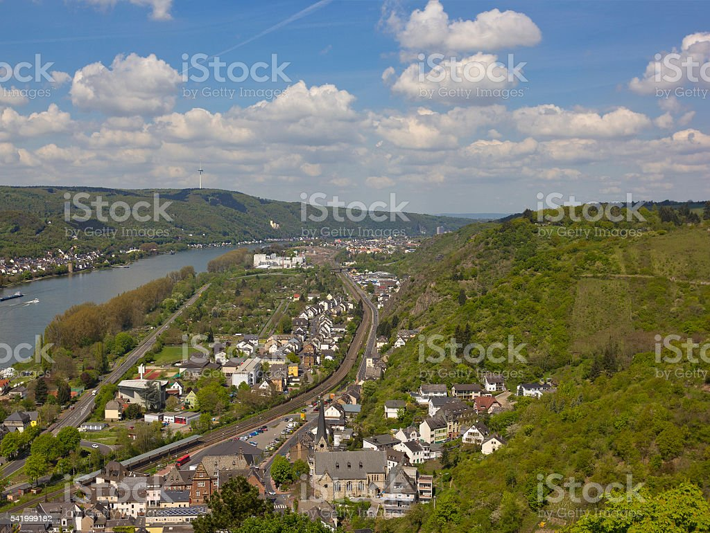 Aerial view of small town of Braubach in Rhineland-Palatinate, Germany stock photo
