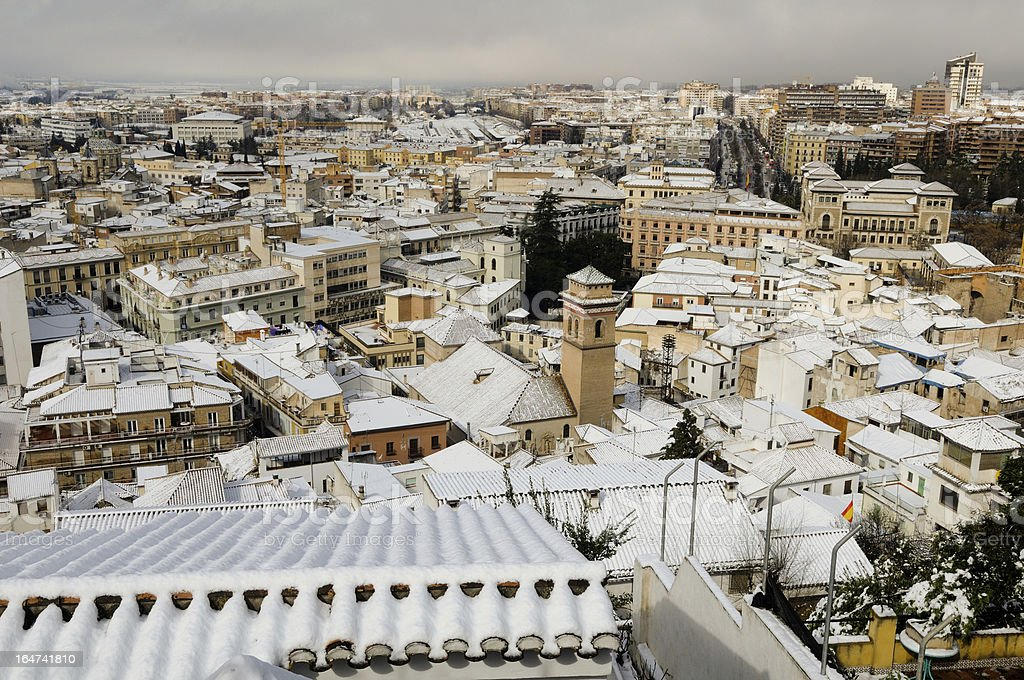 Aerial view of snow Granada from Albaicin royalty-free stock photo