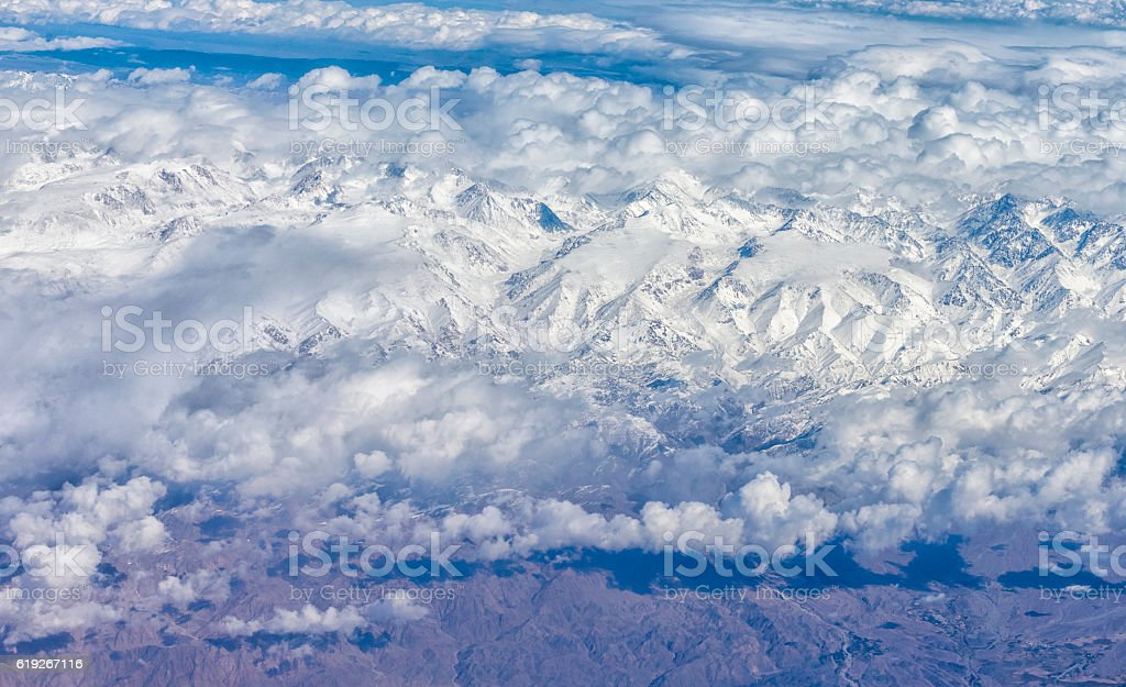 Aerial view of Snow mountains of Xinjiang, China stock photo