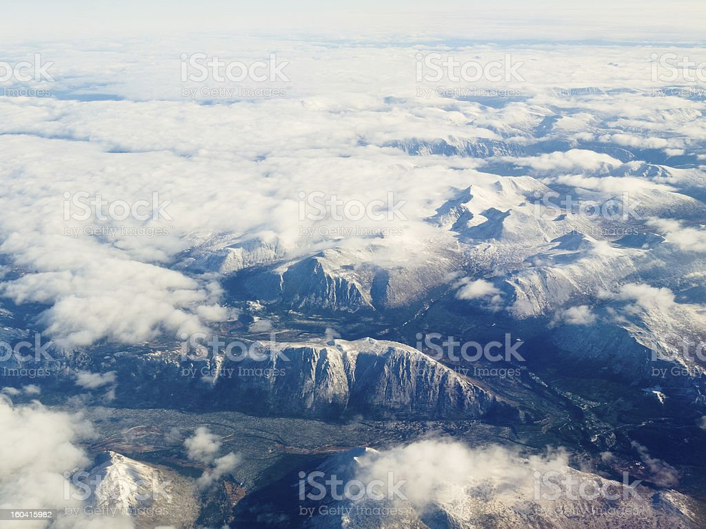 Aerial view of snowcapped mountains in BC Canada royalty-free stock photo