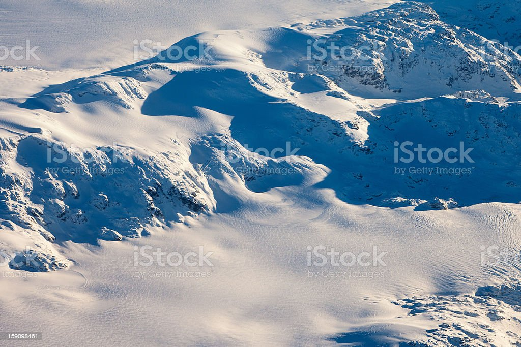 Aerial view of snowcapped peaks in BC Canada royalty-free stock photo