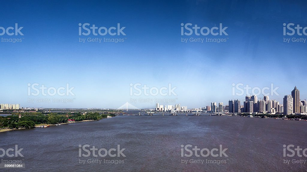 Aerial view of Songhua River between taiyangdao and downtown stock photo