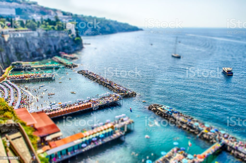 Aerial view of Sorrento Harbour, Italy. Tilt-shift effect applied stock photo