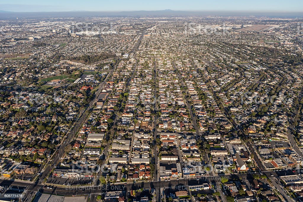 Aerial View of South Bay Neighborhoods in Southern California stock photo