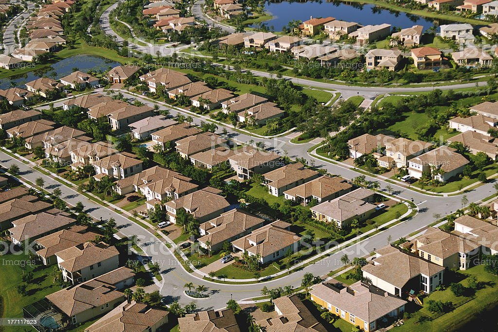 aerial view of south florida suburban residential area stock photo