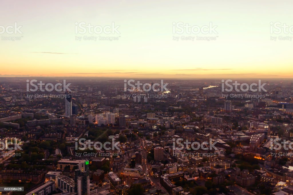 Aerial view of South London at twilight stock photo
