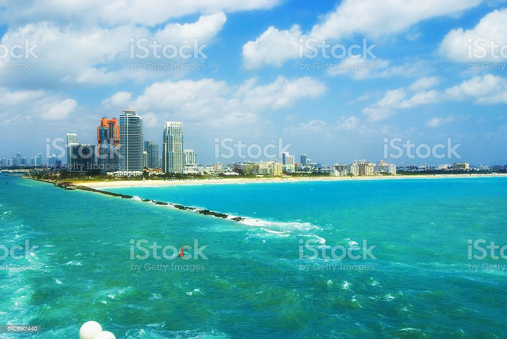 Aerial view of South Miami Beach  and skycrappers stock photo