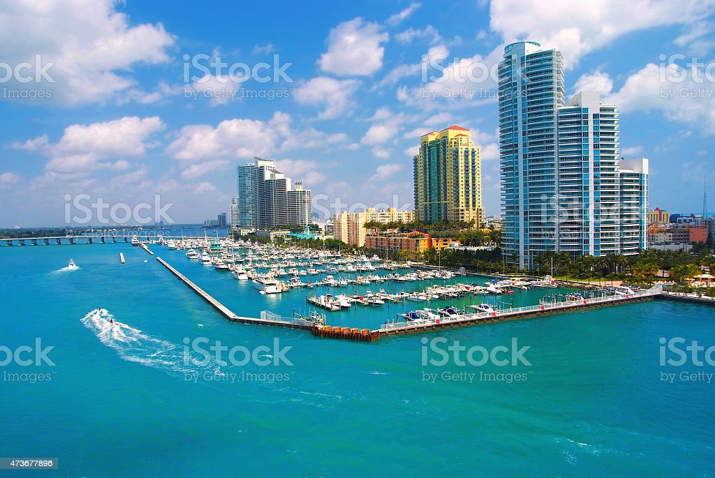 Aerial view of South Miami Beach and skyscrappers stock photo