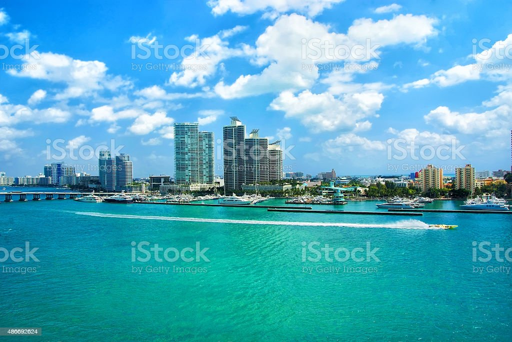 Aerial view of South Miami Beach, bridge  and skycrappers stock photo