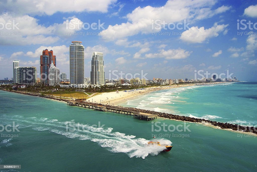 Aerial view of South Miami Beach stock photo