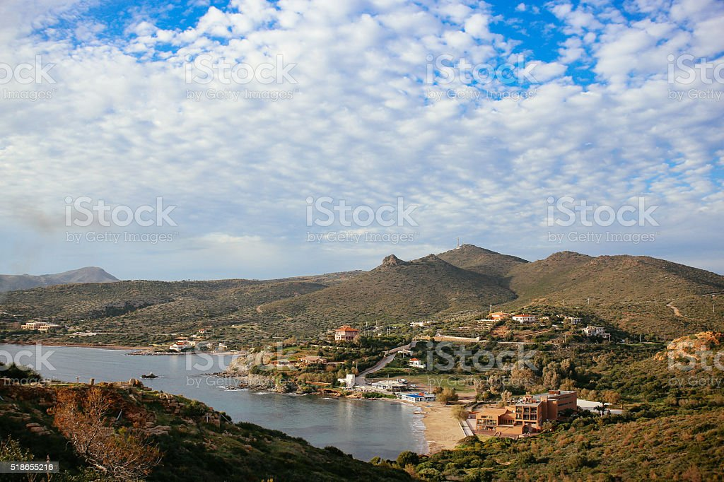 Aerial view of southern Greece landscape stock photo