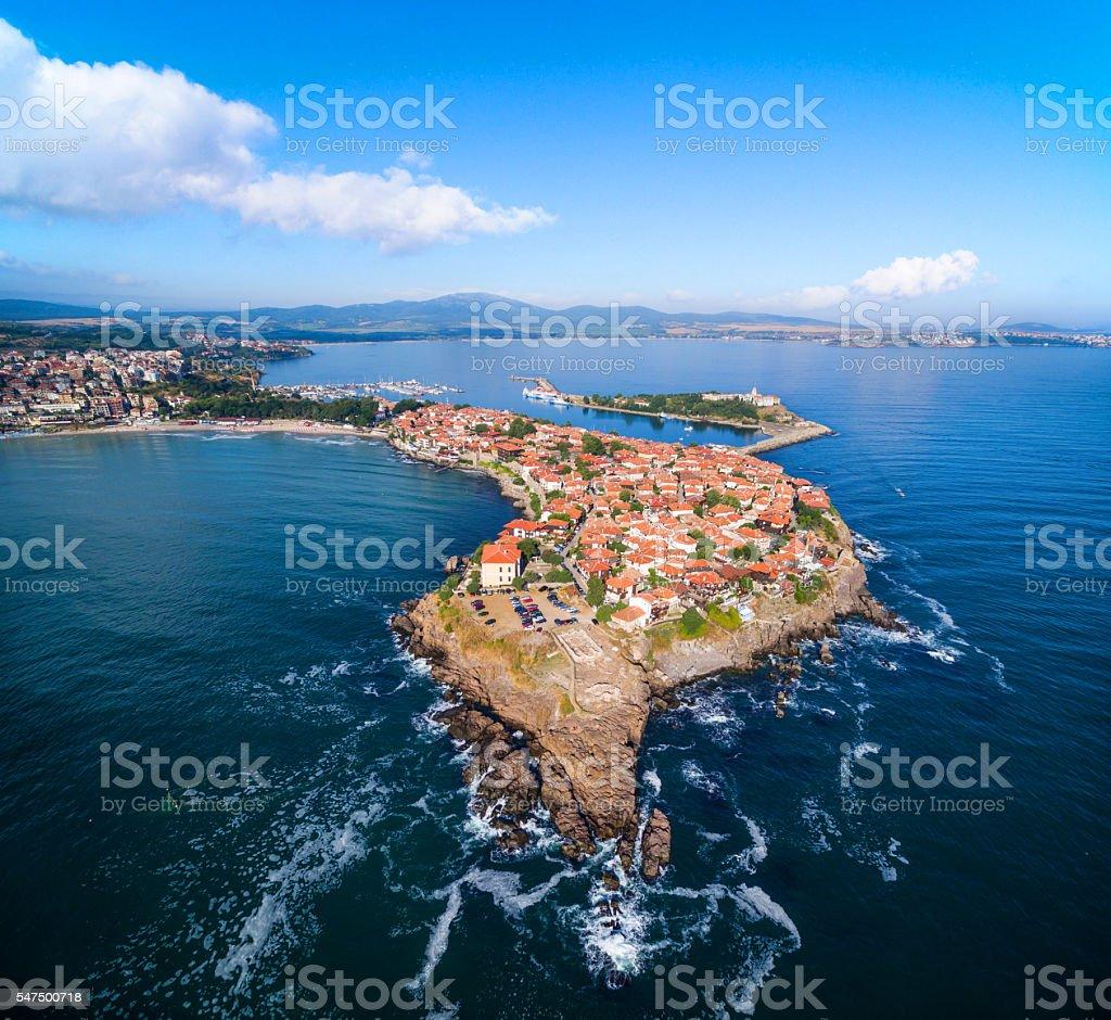Aerial view of  Sozopol, Bulgaria stock photo